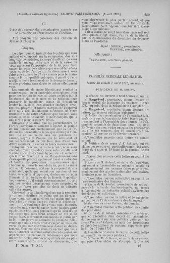 Tome 41 : Du 30 mars au 16 avril 1792 - page 289
