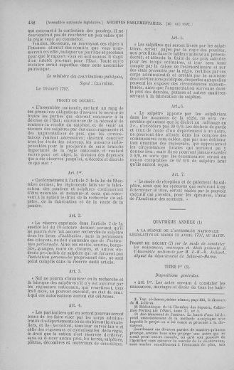 Tome 41 : Du 30 mars au 16 avril 1792 - page 432