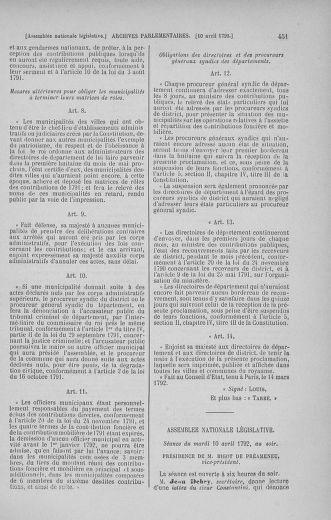 Tome 41 : Du 30 mars au 16 avril 1792 - page 451