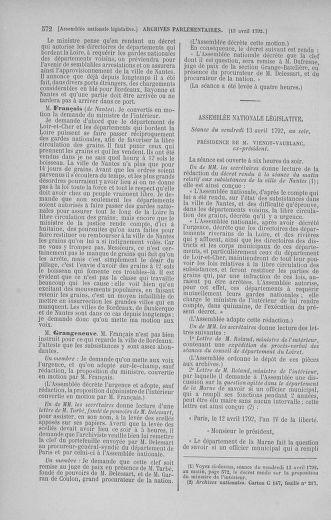 Tome 41 : Du 30 mars au 16 avril 1792 - page 572