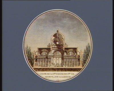 Coupe de la n.le eglise de Ste Genevieve, sur la largeur construite sur les desseins de feu M. Soufflot... : [estampe]