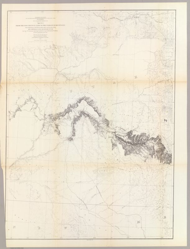 From the Coo-che-to-pa Pass to the Wahsatch Mountains; from Explorations and Surveys    made under the direction of the Hon. Jefferson Davis Secretary of War by Capt. J.W. Gunnison    Topl. Engrs. assisted by Capt. E.G. Beckwith 3d Artillery. R.H. Kern Topographer in the field    Map made under the supervision of Capt. E.G. Beckwith 3d Artillery by F.W. Egloffstein,    Topographer for the Route. 1855. Explorations and surveys for a railroad route from the    Mississippi River to the Pacific Ocean. War Department. Route near the 38th & 39th Parallels.    Map No. 4. Engr. by Selmar Siebert.