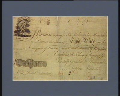 Promise to pay to sir Marmaduke Monopoly or bearer, <em>the</em> sum of two pence, on <em>the</em> conquest of France and establishment of royalty England <em>the</em> 1.st day of August 1795, for self Grumble & Bearmuch. Stephen Starvation Ent.d Daniel Discontent : [estampe]