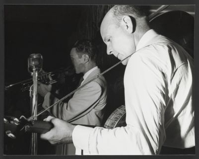 Bob Scobey with Clancy Hayes on stage