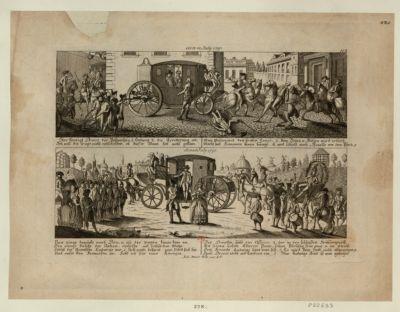 Hier kündigt Drovet der Postmeister Nun gings zurücke nach Paris, u. als der Wagen... : den 22 July <em>1791</em> : den 25 July <em>1791</em> : [estampe]