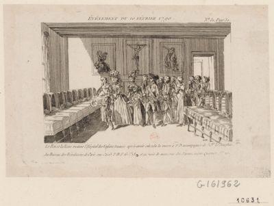 Événement du 10 février 1790 le roi et la reine visitans l'Hôpital des Enfans trouvés après avoir entendu la messe à N.D. accompagnés de Mgr le Dauphin : [estampe]