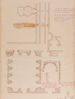 Palatino, pianta di un corpo di fabbrica scavato nel 1724 negli Orti Farnesiani appartenente alla Domus Flavia