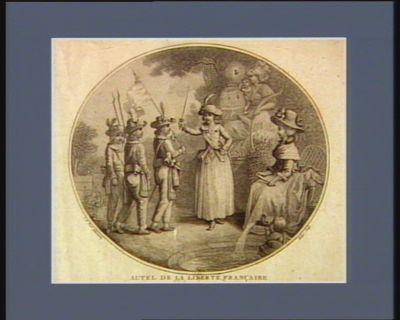 Autel de la liberté française dédié à la nation : une bourgeoise de Paris insinue à ses enfans le gout militaire, lesquels représentent linnocence qui garde l'autel de la liberté... : [estampe]