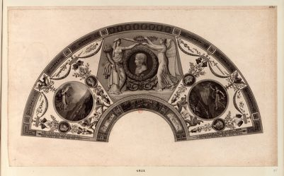 [Eventail représentant Bonaparte couronné par la Paix et la Victoire] [estampe]