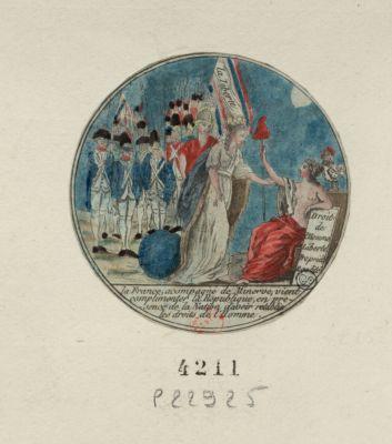 La  France, accompagné de Minerve vient complimenter la République, en presence de la nation d'avoir retabli les droits de l'homme [estampe]