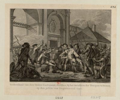 Heldendaad van den onder-luitenant, Desilles, bij het inrukken der troepen te Nancij [estampe]