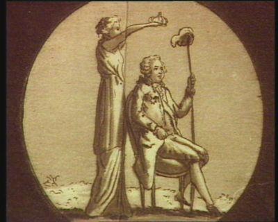 [Louis seize tenant une pique avec un bonnet phrygien, est couronné par la Constitution] [estampe]