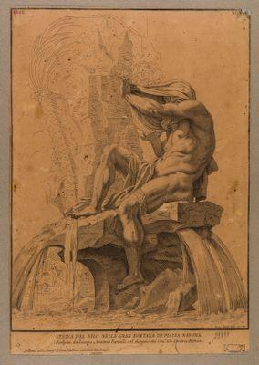 Statua del Nilo nella gran fontana di piazza Navona