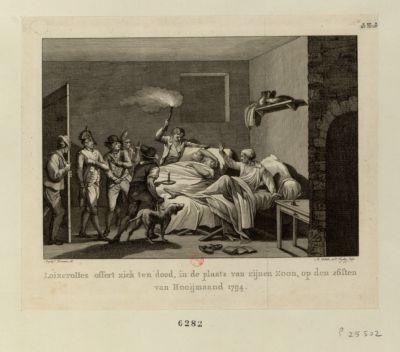 Loizerolles offert zich ten dood, in de plaats van zijnen zoon [estampe]