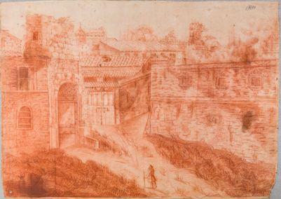 Palatino, veduta verso l'arco di Tito dell'angolo del recinto degli Orti Farnesiani