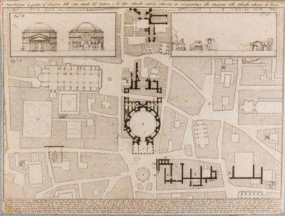 Dimostrazione in pianta ed elevazione dello stato attuale del Pantheon