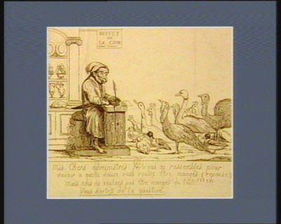 Assemblée des <em>notables</em> le <em>22</em> février <em>1787</em> mes chers administrés je vous ai rassembles pour savoir a quelle sauce vous voulez etre mangés... : [estampe]