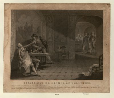 Assassinat <em>de</em> Michel <em>Le</em> <em>Pelletier</em> ce député à la Convention nationale fut assassiné <em>le</em> <em>20</em> janvier <em>1793</em>... : [estampe]