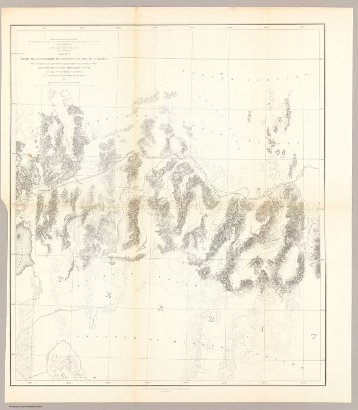 From the Humboldt Mountains to the Mud Lakes; from Explorations and Surveys made    under the direction of the Hon. Jefferson Davis Secretary of War by Capt. E.G. Beckwith, 3d    Artillery. F.W. Egloffstein, Topographer for the Route. 1855. Explorations and surveys for a    railroad route from the Mississippi River to the Pacific Ocean. War Department. Route near the    41st Parallel. Map No. 3. Selmar Siebert's Engraving & Printing Establishment    Washington, D.C.