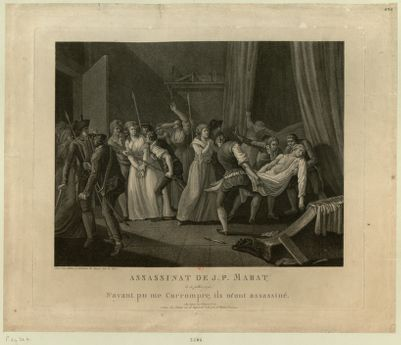 Assassinat de J.P. Marat le 13 juillet <em>1793</em>. N'ayant pu me corrompre, ils m'ont assassiné : [estampe]