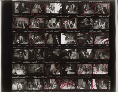 """[Birthday party for Richard Weisman and """"Frank"""", with George Hamilton, Catherine Oxenberg, Andy Warhol, Jon Gould, Suzie Frankfurt, and others]"""