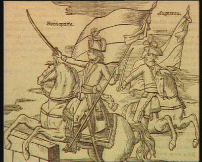 Les  Miracles d'aujourd'hui Buonaparte et Augereau saisissant chacun un drapeau, et au milieu d'une pluie de feu, traversent le pont d'Arcole, l'armée française guidée par son courage ordinaire, et par l'exemple de leurs chefs s'élance sur l'ennemi... : [estampe]