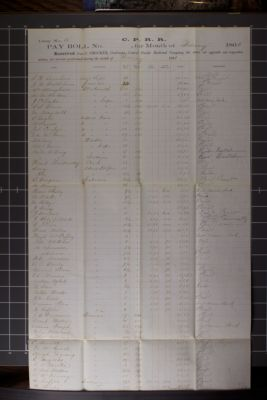 C.P.R.R. pay roll no. 107 for the month of February 1866, Camp No.15