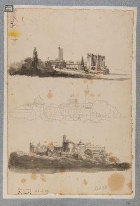 Panorama parziale di Roma. Torre dei Capocci, Torre dei Borgia, Esquilino, Aventino