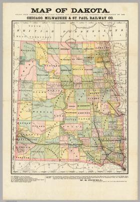 1937 official road map North Dakota South Dakota cartographic