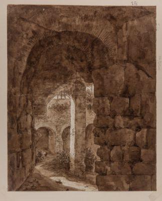 Colosseo, interno di arcata con sfondo