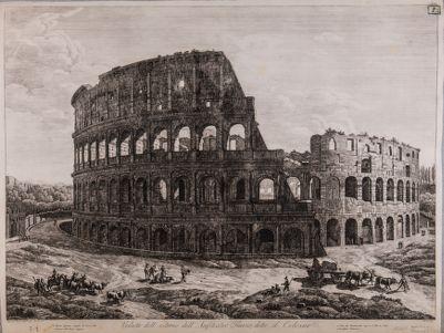 Colosseo, esterno. Veduta dell'esterno dell'anfiteatro Flavio, detto il Colosseo