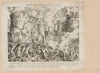 Prise de la Bastille en 1789 cette forteresse devant laquelle avoit échoué le courage du grand Condé et que les plus grands guerriers avoient jugé imprénable, fut attaquée le mardi 14 juillet et emportée d'assaut en moins de 4 heures par la bravoure prodigieuse des citoyens de Paris, armés pour la défense de leur liberté et le salut de la patrie : [estampe]