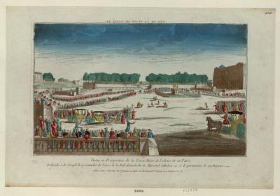 Vista en prespectiva de la Piaza Maior de Ludvico XV en Paris vue de la place Louis XV : [estampe]