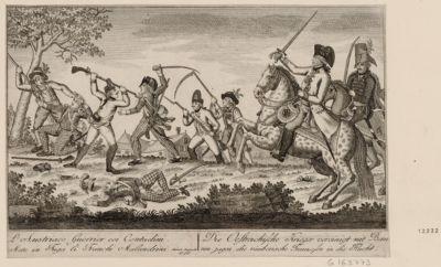 L' Austriaco Guerrier coi Contadini Mete in Fuga li Franchi Malandrini Mense Augusto 1796 : [estampe]