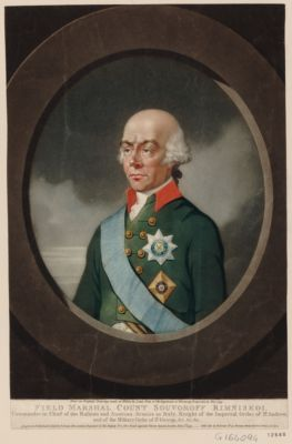 Field marshal count Souvoroff Rimniskoi Commander in chief of the Russian and Austrian armies in Italy, knight of the Imperial order of St Andrew, and of the military order of St George, &c. &c. &c. : [estampe]