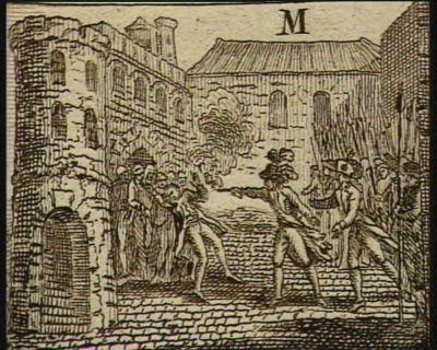 [M. Lequinio brûle la cervelle à un détenu dans la prison de Fontenay, son secrétaire en renverse un autre d'un coup de feu, sous prétexte d'une insurrection] [estampe]