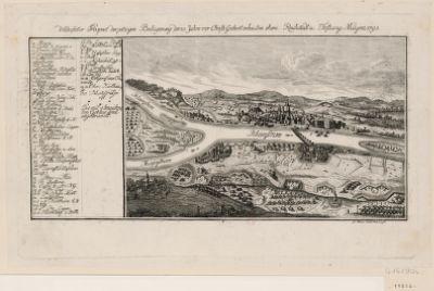 Verbesserter Prospect derjetzigen Belagerung der 10. Jahre vor Christi Geburt erbauten ehem. Reichstadt u. Festung Maynz 1793 [estampe]