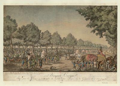 Banquet civique donné par les Gardes nationales aux troupes de la garnison le 27 et 28 juin 1790 [estampe]