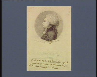 Lavenue né à Bazas le 25 decembre 1755, avocat au Parlem.t de Bordeaux dep.t de la sénéchaussée de Bazas : [dessin]