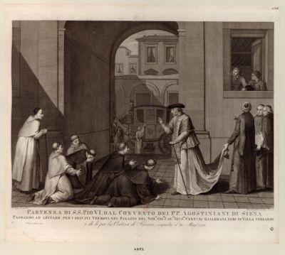Partenza di S.S. Pio VI dal convento dei P P. Agostiniani di Siena passando ad abitare per i seguiti tremoti... : [estampe]