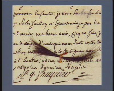 [Dernière lettre de Fouquier-Tinville à laquelle est jointe une mèche de cheveux entourée d'une faveur]