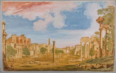 Veduta di Campo Vaccino contenente il Foro Romano, il Comizio, Il Vulcanale, e parte del Tempio della Pace, e della Via Sacra
