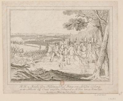 K.K. v. Reichs Gen. Feldmarschal Prinz von Sachsen Coburg in der Schlacht bey Omal zwischen Tirlemont v. St Tron am 18 März 1793 [estampe]