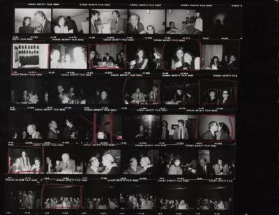 [Dinner party at Regine's (?), Bianca Jagger, Ahmet Ertegun, Carolina Herrera, Truman Capote, Marisa Berenson, Diana Vreeland, Kenneth Jay Lane, Andy Warhol and Denise Hale, Marina Cicogna, Pauline Karpidas]