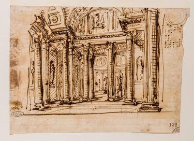 Pantheon. Gallerie interne e pianta circolare in alto a destra
