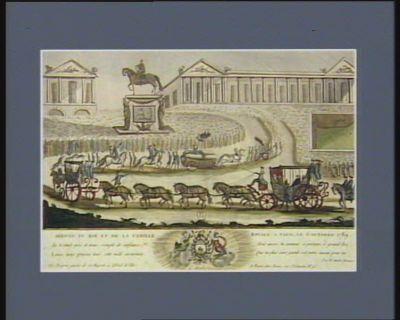 Arrivée du Roi et de la famille royale à Paris, le 6 octobre 1789 tu te rends près de nous, rempli de confiance, Louis, nous prisons tous, cette mâle assurance, mais aussi, tu connois, à présent, <em>ô</em> grand Roi, que ta plus sûre garde est notre amour pour toi... : [estampe]