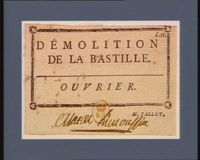 Démolition de la Bastille. Ouvrier [estampe]