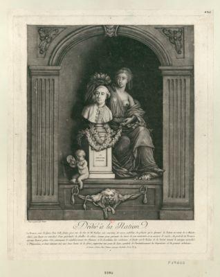 Dédié à la <em>nation</em> la France, sous la figure d'une belle femme, pose sur la tête de M. Necker, une couronne de roses... : [estampe]