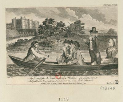 La  Comtesse de Valois de la Motte à sa sortie de la Salpétrière, traversant la Seine vis à vis de la Bastile : [estampe]