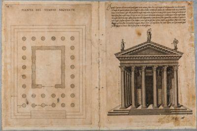 Tempio di Castore e Polluce, pianta e prospetto